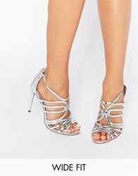 Asos Home And Away Wide Fit Caged Heeled Sandals Silver