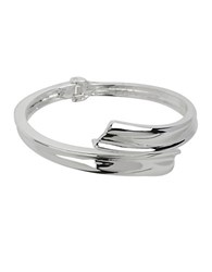 Robert Lee Morris Sculptural Bypass Hinged Bangle Bracelet Silver