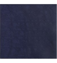 Duchamp Floral Jacquard Silk Pocket Square Navy
