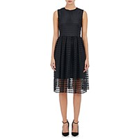 Barneys New York Women's Square Eyelet Midi Dress Black Blue Black Blue