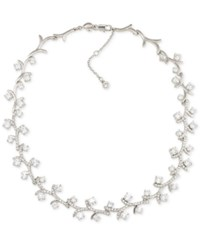 Carolee Silver Tone Vine Inspired Crystal Collar Necklace