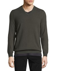 Vince Cashmere Long Sleeve V Neck Sweater Forage