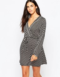 Goldie Stay Curious Wrap Dress In Daisy Dot Print Black