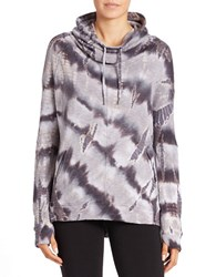 Betsey Johnson Tie Dyed Drawstring Pullover Charcoal White