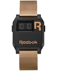 Reebok Men's Digital Nerd Graffiti Rose Gold Ion Plated Mesh Bracelet Watch 35Mm Rc Vne U9 Pbs3 B3 Black