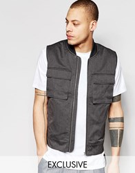 Black Eye Rags Military Gilet Grey