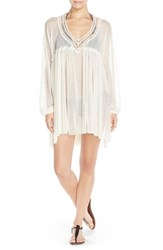 Women's Robin Piccone Crochet Trim Tunic Cover Up Ivory Cream