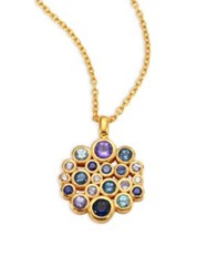 Gurhan Pointelle Diamond Multi Stone And 24K Yellow Gold Pendant Necklace Gold Multi