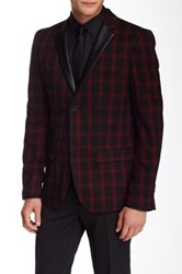 Edge By Wd.Ny Glenn Plaid 2 Button Notch Collar Sport Coat Red