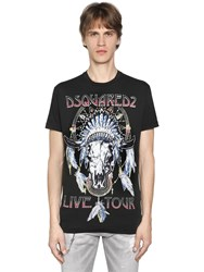 Dsquared Live Tour Printed Cotton Jersey T Shirt