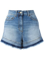Red Valentino Frayed Denim Shorts Blue