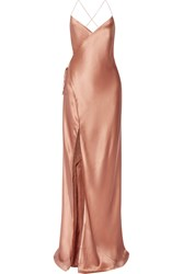 Mason By Michelle Mason Silk Satin Wrap Gown Antique Rose