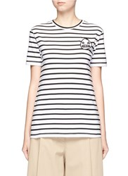 Etre Cecile 'Starry Eye' Felted Patch Breton Stripe T Shirt White