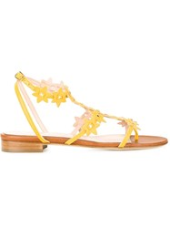 Oscar De La Renta Floral Flat Sandals Yellow And Orange