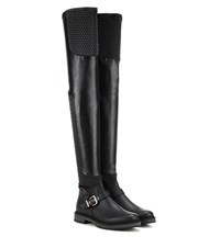 Fendi Waves Quilted Leather Over The Knee Boots Black