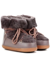 Inuikii Rabbit Low Fur Lined Leather Boots Brown