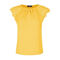 Hotsquash Crepe Top With Lace Sleeves Yellow