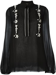 Giambattista Valli Floral Embroidered Blouse Black
