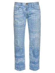 Current Elliott The Boyfriend Bandana Print Low Rise Jeans Denim
