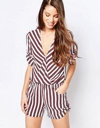 Traffic People Playsuit With Wrap Front In Stripe White Red