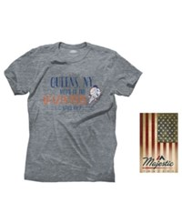 Majestic Men's New York Mets Triblend Cooperstown Logo T Shirt Gray