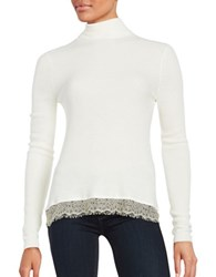 T Tahari Lace Trimmed Turtleneck White
