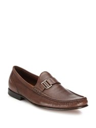 Bally Textured Deerskin Suede Loafers Dark Tan