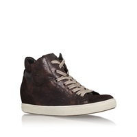 Paul Green Bea Flat Lace Up Hi Top Trainers Brown