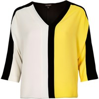 River Island Womens Yellow Color Block T Shirt