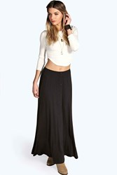 Boohoo 90'S Grunge Style Button Front Maxi Skirt Black