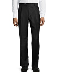 Hickey Freeman Worsted Wool Trousers Black