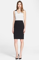 St. John Sequin Stripe Two Tone Milano Knit Dress Caviar Cream