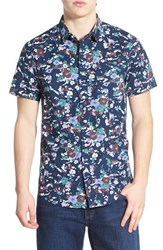 Men's 1901 'Gifford' Trim Fit Floral Print Short Sleeve Woven Shirt