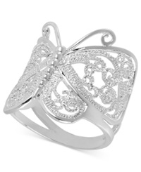 Touch Of Silver Silver Plated Ring Butterfly Ring