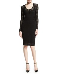 Tom Ford Long Sleeve Pointelle Scoop Neck Dress Black