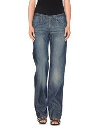 Jaggy Denim Denim Trousers Women Blue