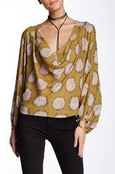 Free People Cowl Neck Blouse Yellow