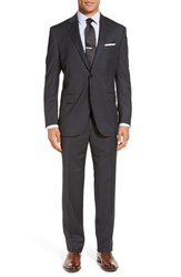 Peter Millar Men's Big And Tall 'Flynn' Classic Fit Windowpane Wool Suit Charcoal