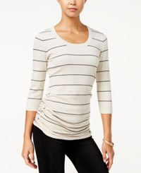 Pink Rose Juniors' Ruched Sweater Heather Oatmeal Black