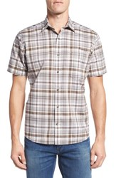 Maker And Company Men's Tailored Fit Plaid Short Sleeve Sport Shirt Fossil