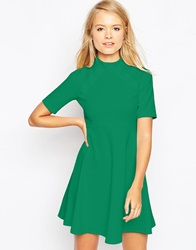 Asos Skater Dress With Empire Seam And Button Detail Green