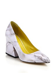Charlotte Olympia Vendome Marble Print Point Toe Pumps White Marble