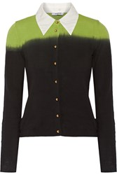 Moschino Cheap And Chic Two Tone Stretch Cotton Cardigan Black