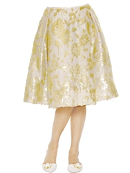 Rochas Floral Embroidered Silk Nigel Skirt Ivory Gold