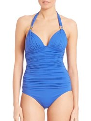 Elizabeth Hurley One Piece Ruched Swimsuit Prussian B