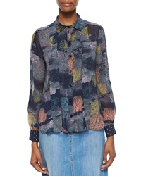 See By Chloe Long Sleeve Printed Georgette Tuxedo Blouse