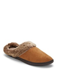 Isotoner Faux Fur Trimmed Roundtoe Slippers Buckskin