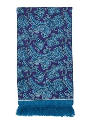 Paul Costelloe Purple And Teal Paisley Silk Scarf