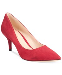 Nine West Margot Mid Heel Pumps Women's Shoes Red Suede