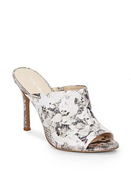 Nine West Funny How Snake And Floral Print Mules Grey Multi